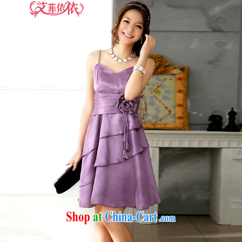 The heartrending elegant the waist straps small dress skirt 2015 Korean version of the new, shorter, banquet chairpersons noble flouncing flowers dress 3668 purple XXXL