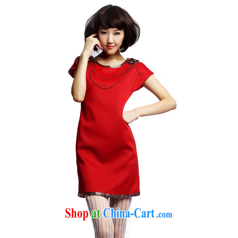 Mr Mak Hee-toast clothing red bridal small dress Europe big nails Pearl dresses red XL/170