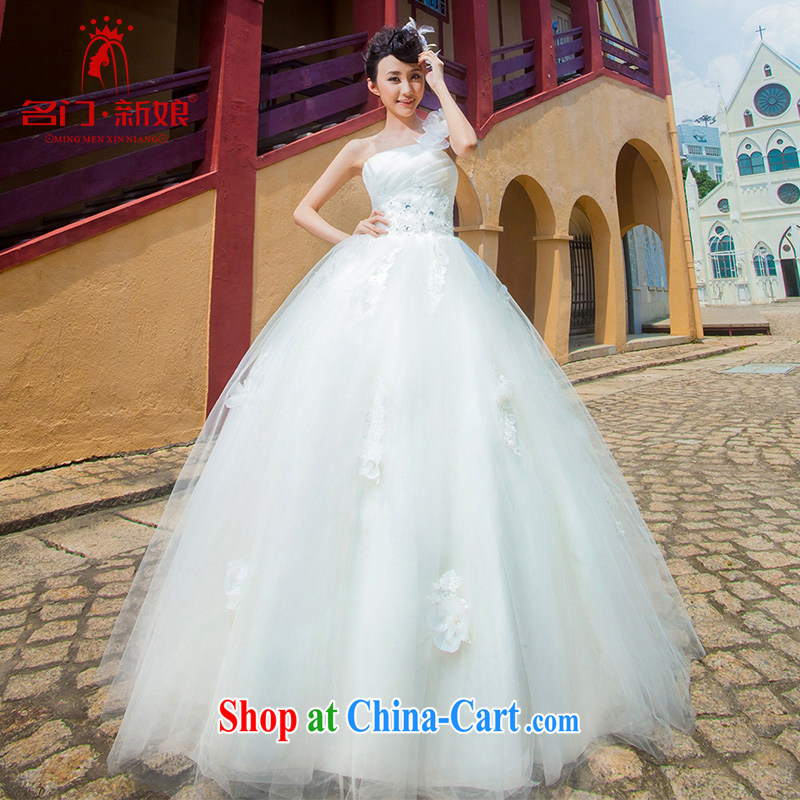 The bride's single shoulder flowers shaggy wedding Korean version with Princess wedding 849 L