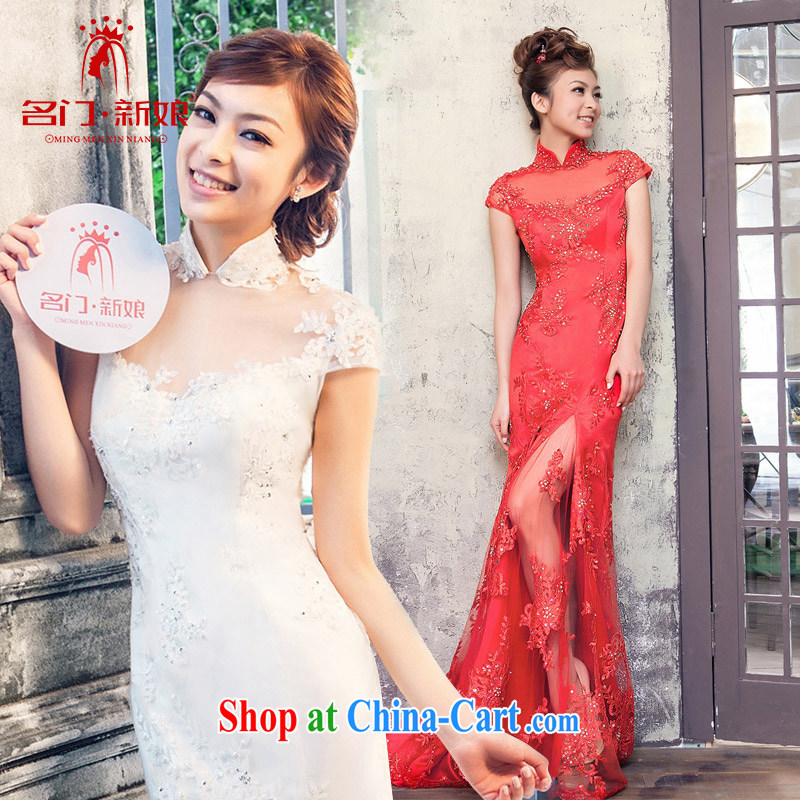 The bride's new beauty wedding long small tail wedding toast serving 817 red M