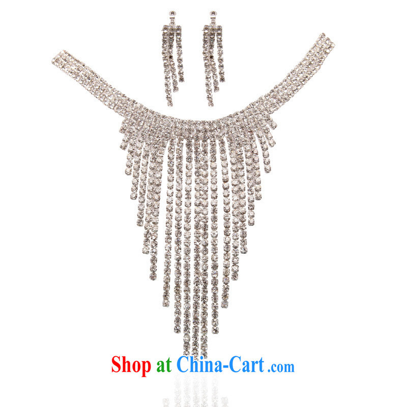 The bridal accessories bridal jewelry bridal necklace set wedding dresses water diamond necklace marriage 165 silver