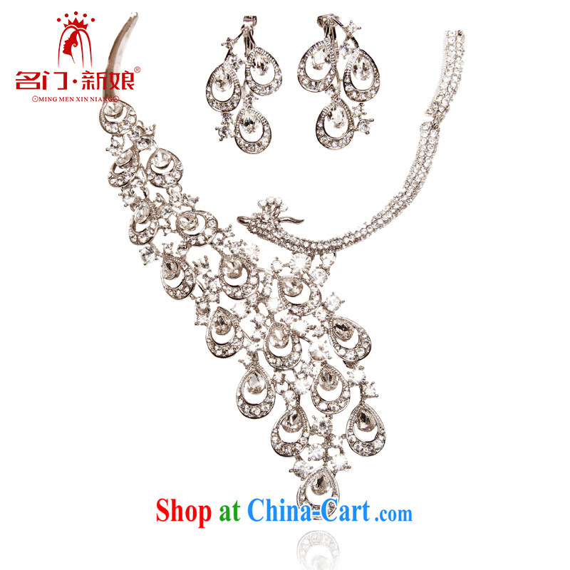 The bridal suite link wedding jewelry bridal necklace bridal jewelry set water diamond necklace 156 silver