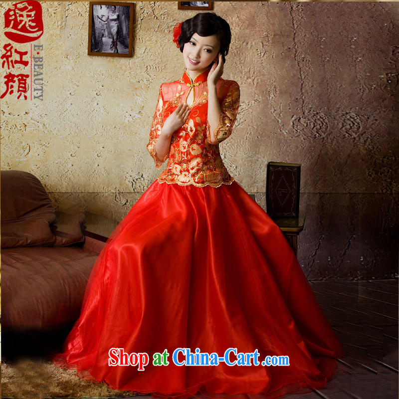Subject to conditions and strong marriage cheongsam dress, bride cuff toast serving modern red XL