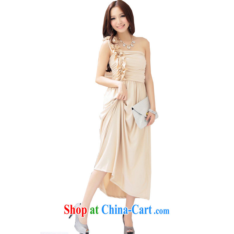 The parting with drape wrapped chest single shoulder lace dress 2015 Korean version of the new, female long banquet annual meeting moderator stage of dress sense 4145 apricot XL