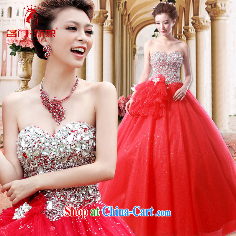 The bride's wedding dresses Korean Princess wedding upscale wedding new 894 red L