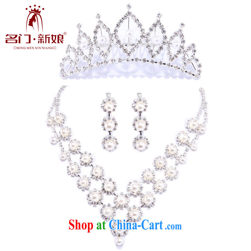 The bride's 11,000 sparkling water diamond necklace Korean-style wedding Set chain jewelry wedding accessories 3-piece set 027 link + 082 Crown