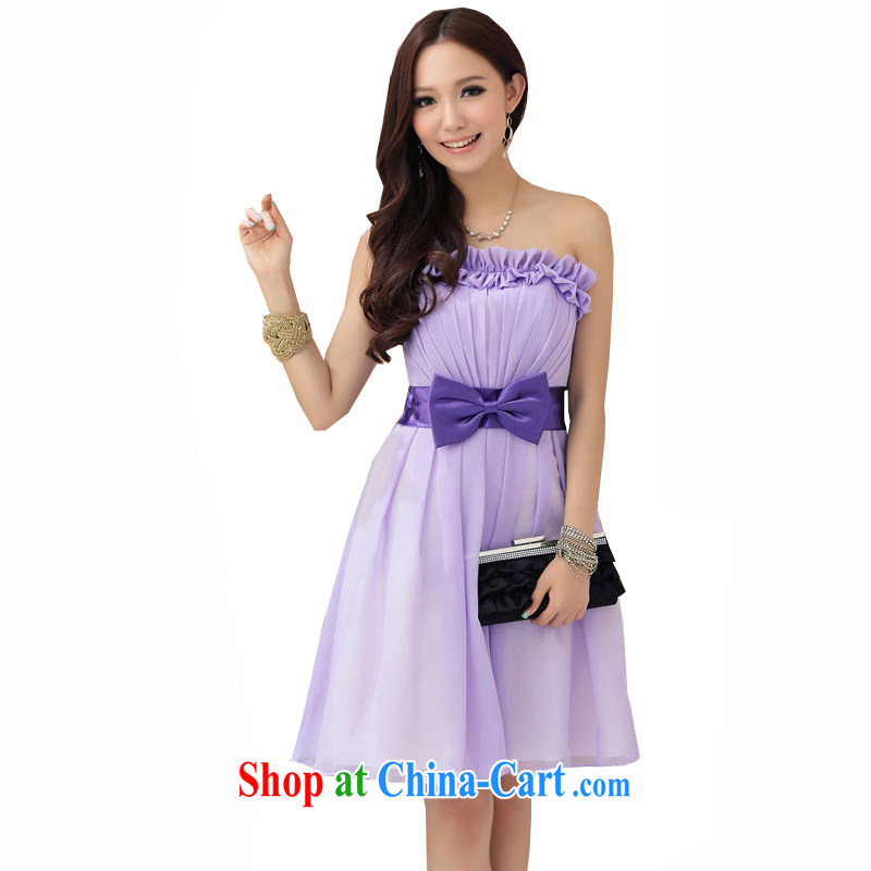 The Parting short, elegant Bow Tie bare chest small dress 2015 Korean wedding banquet hosted bridesmaid flouncing wedding sister dress 4270 purple XL