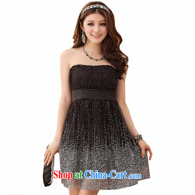 The heartrending Super Star Internet yarn small dress 2015 Korean version of the new, shorter, theatrical sister Princess Mary Magdalene by chest-waist dress dress 4284 black XXXL