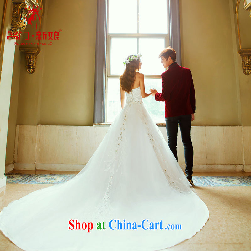 The bride's wedding dresses Korean sweet Princess wedding New Deluxe long-tail wedding 913 L