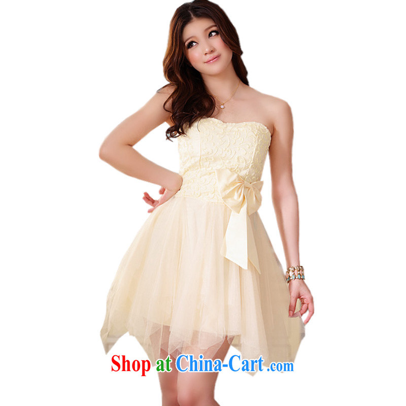 The Parting does not rule out chest dress 2015 Korean version of the new women short marriage banquet bridesmaid bridal bowtie hot skirts 4310 champagne color XXXL