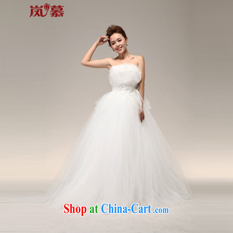LAURELMARY sponsors the vera wang Wang Wei wipe version chest high waist pregnant women may also shaggy lace wedding 12 H 005 pure white _as shown_ XL