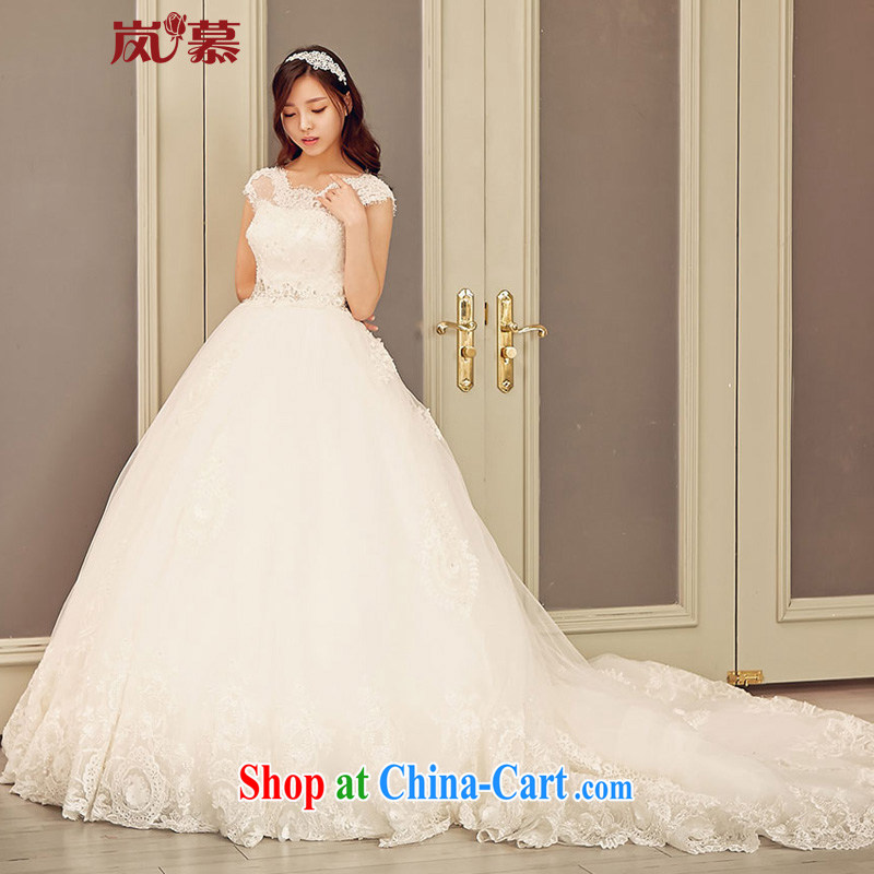 Its blossoms of spring 2015 new Korean-style field shoulder lace-the-tail bridal wedding dresses ivory white XL