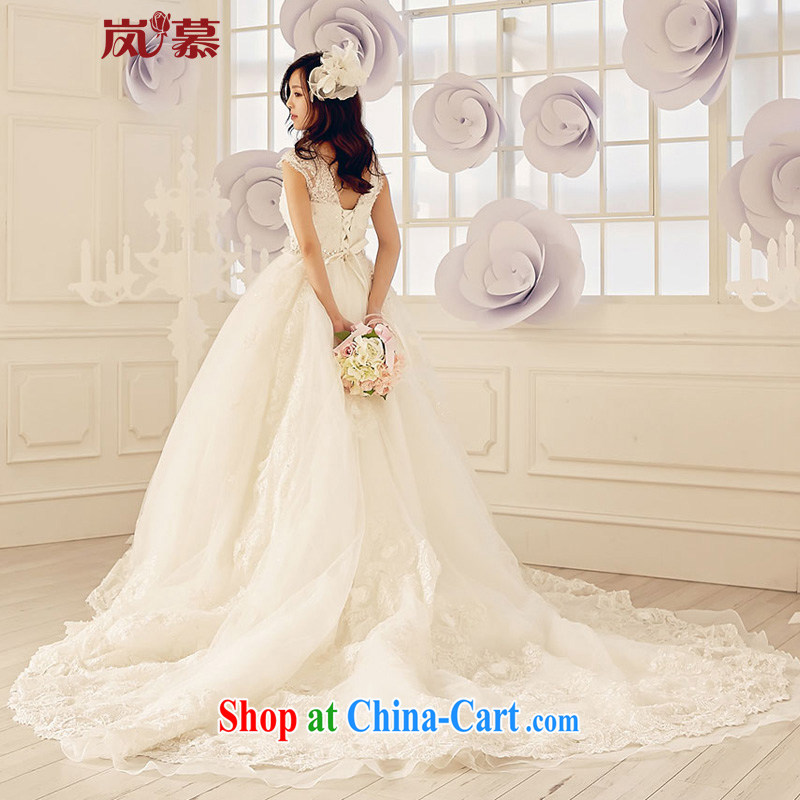Its blossoms of spring 2015 new Korean-style field shoulder lace-the-tail bridal wedding dresses ivory white XL, sponsors, and shopping on the Internet
