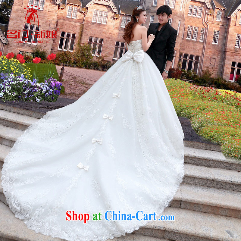 The bride's New Deluxe Big-tail wedding sweet Princess V-neck wedding dresses A L 970