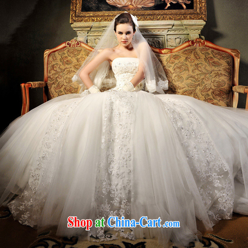 Garden 2015 new hot deluxe wiped his chest straps, tail wedding dresses S 612 tail 50 CM tailored