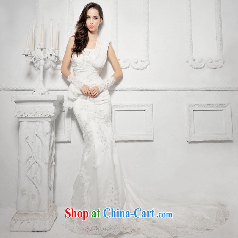 Garden_MTF 2015 new S 1285 elegant lace-tail end crowsfoot bridal wedding ivory tail 50CM tailor