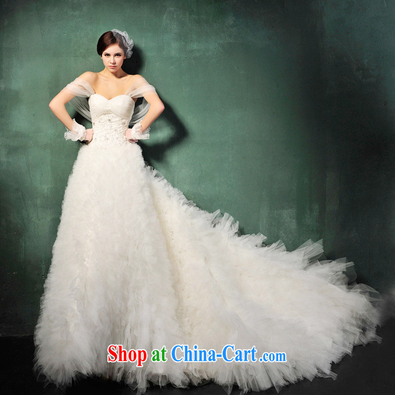 2015 new Tung-hsuan, the Korean version winter Princess Mary Magdalene sweet chest strap tail wedding dresses S 609 tail 100 CM tailored