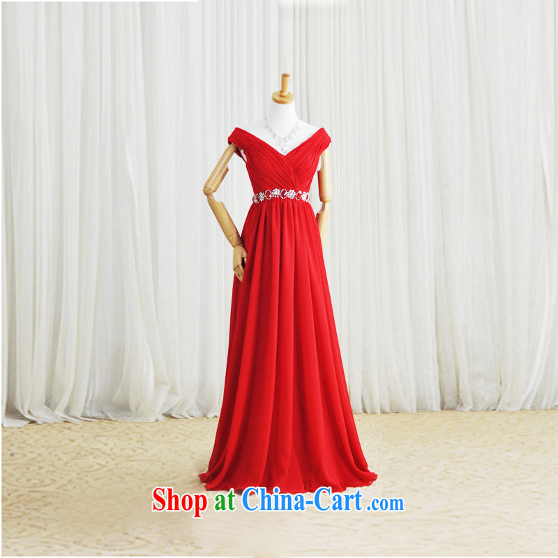 Garden 2015 new V collar package shoulder red dress Korean dress uniform toast dress L 926 large red tailored