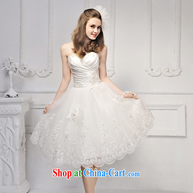 2015 new garden/MTF Korean short Princess shaggy dress wiped chest lace wedding dresses S 623 ivory tailored