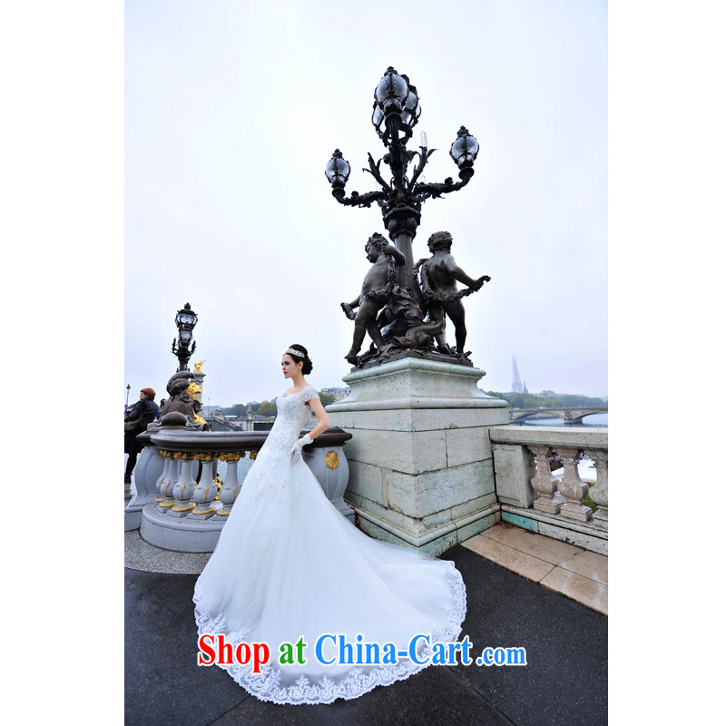 2015 Paris site wedding dresses V brought back exposed wood drill package shoulder tail Palace elegant and luxurious tail wedding S 1296 tail 100 CM tailored