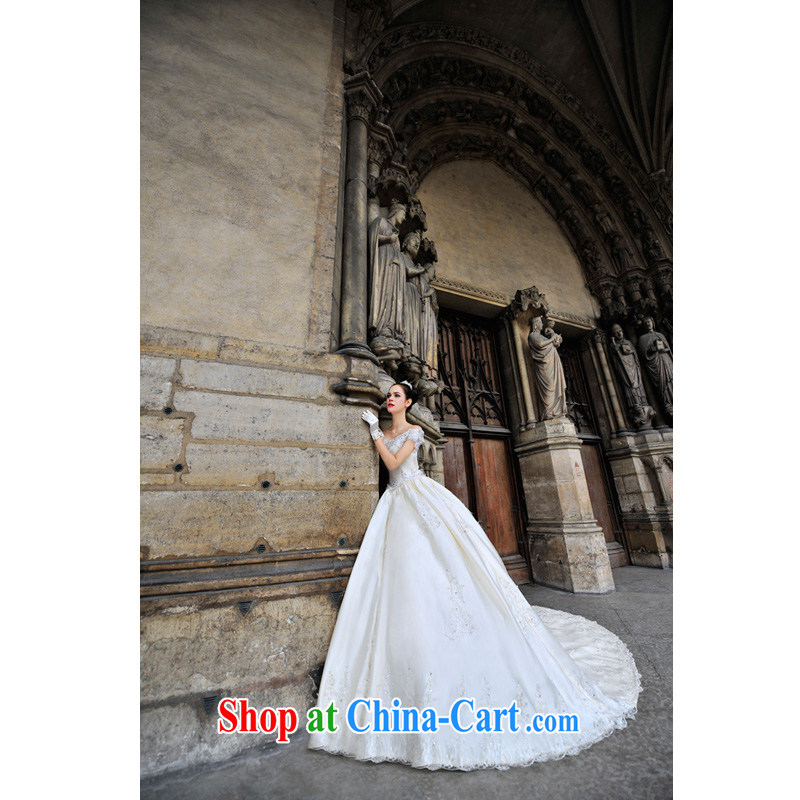 2015 Paris site tail wedding dresses only the US retro court field shoulder sense of wood drilling wedding s 1292 drag and drop tail 50 CM tailored 15 - 20 days