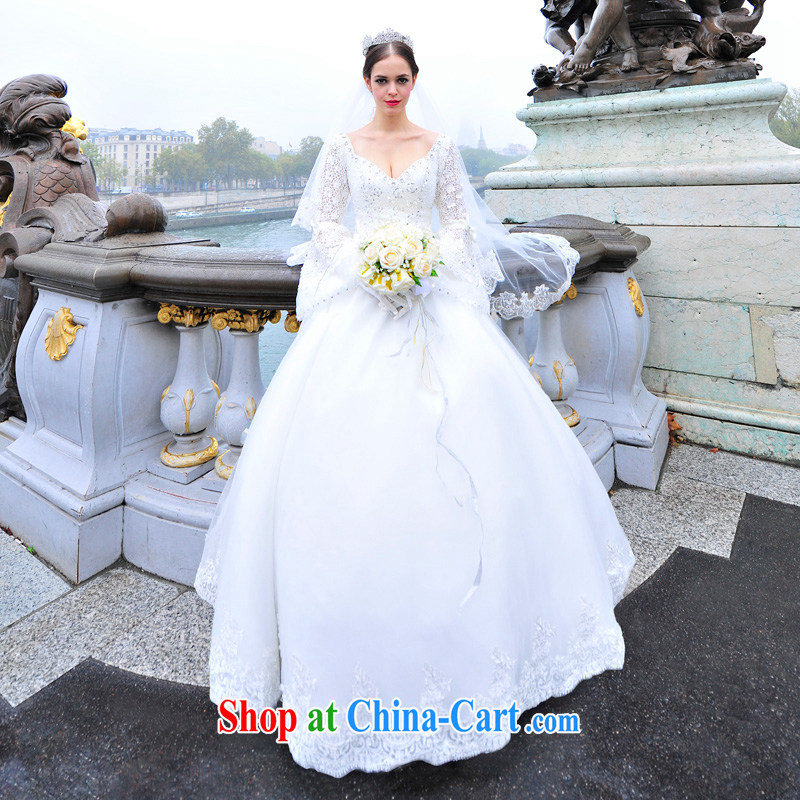 2015 new wedding dresses garden/MTF long-sleeved retro sexy back exposed tail Princess wedding s 1293 ivory tailored
