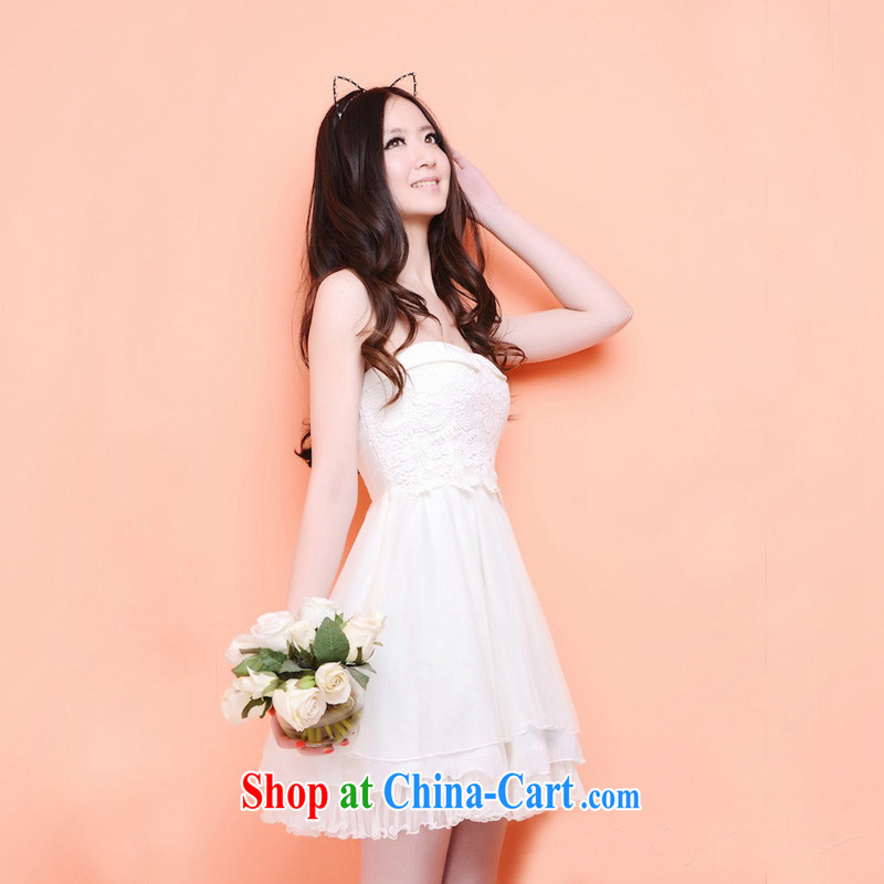 Song snow income-generating 2014 spring_summer new dress bridesmaid dress lace bare chest skirt dress snow woven dresses short wedding dresses, LBAS 04 white L_XL
