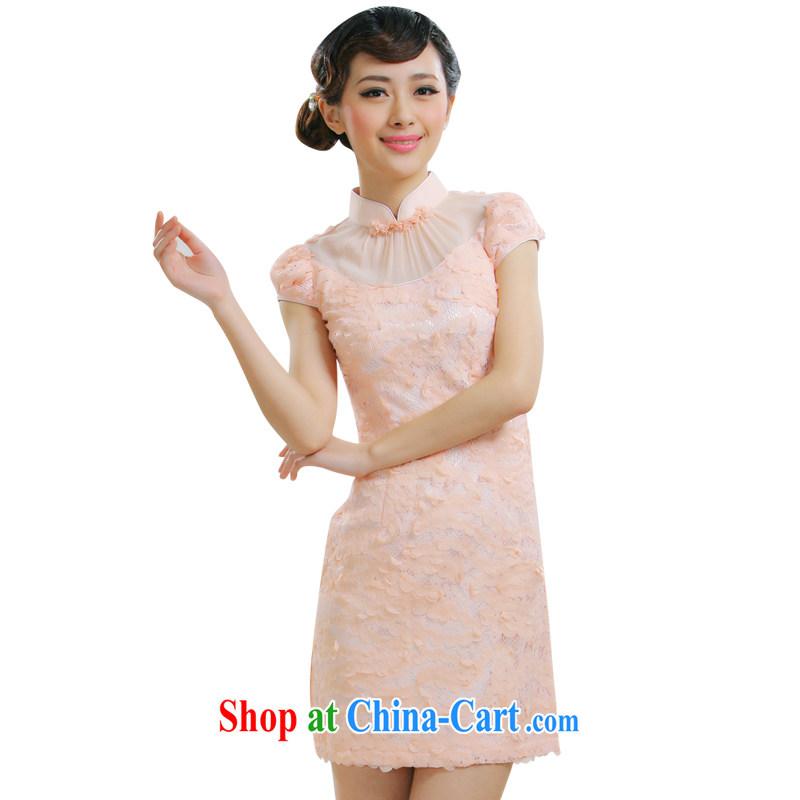 Slim li know 2015 new sweet romantic graphics thin retro dress cheongsam dress retro Palace wind of aristocratic ladies Chinese style qipao QLZ Q 15 6010 pink M