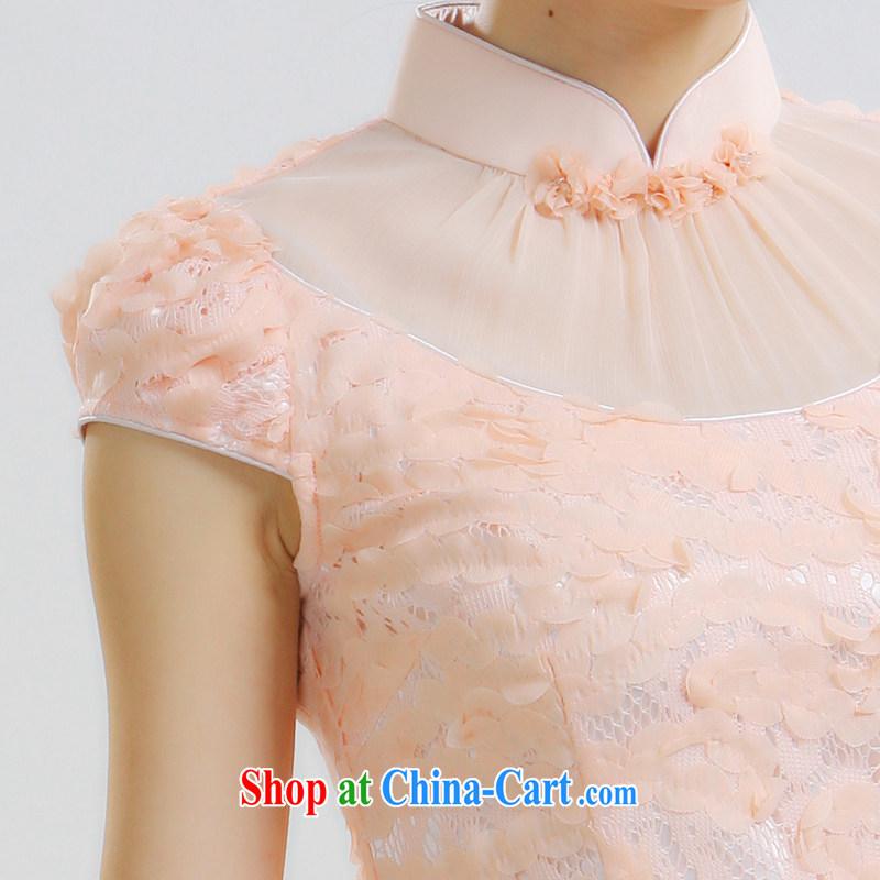 Slim li know that 2015 new sweet romantic graphics thin retro dress dresses retro Palace wind of aristocratic ladies Chinese style qipao QLZ Q 15 6010 pink M, slim Li (Q . LIZHI), online shopping
