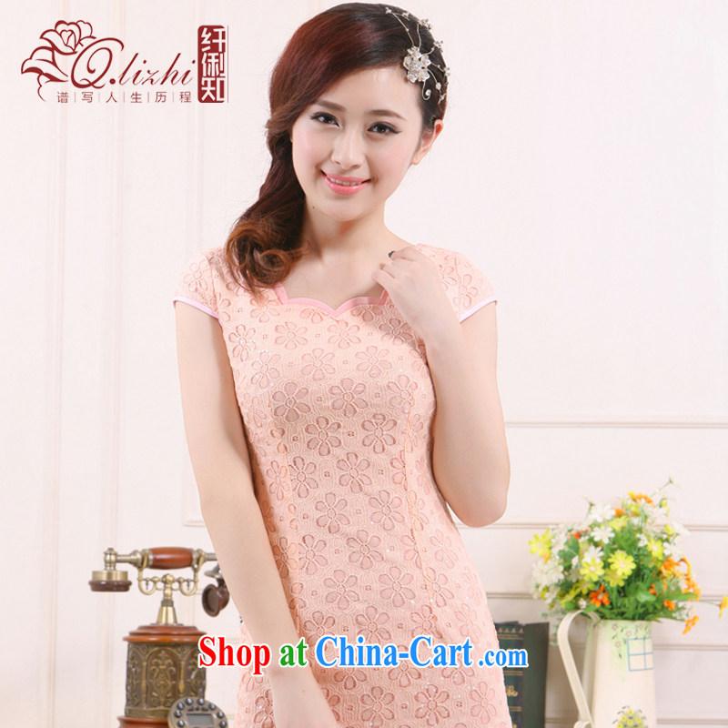 Slim li know 2015 spring and summer new retro style small dress improved lace China beauty charm cheongsam QLZ Q 15 6012 high-collar pink XS, slim Li (Q . LIZHI), online shopping