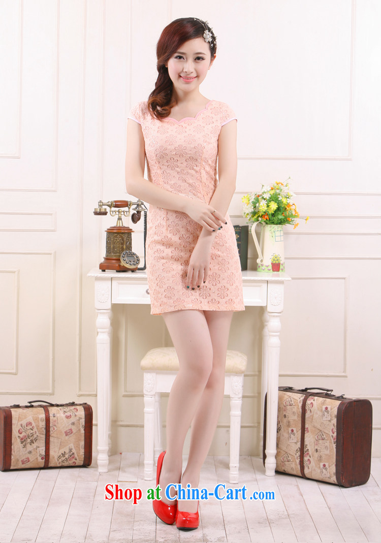 Slim li know 2015 spring and summer new retro style small dress improved lace China beauty charm cheongsam QLZ Q 15 6012 high-collar pink XS pictures, price, brand platters! Elections are good character, the national distribution, so why buy now enjoy more preferential! Health