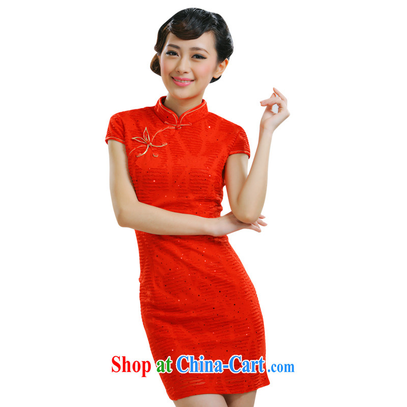 Slim li know 2014 new bride dresses with improved short brides with stylish retro summer dresses brides dresses loaded QJ 010 red XL