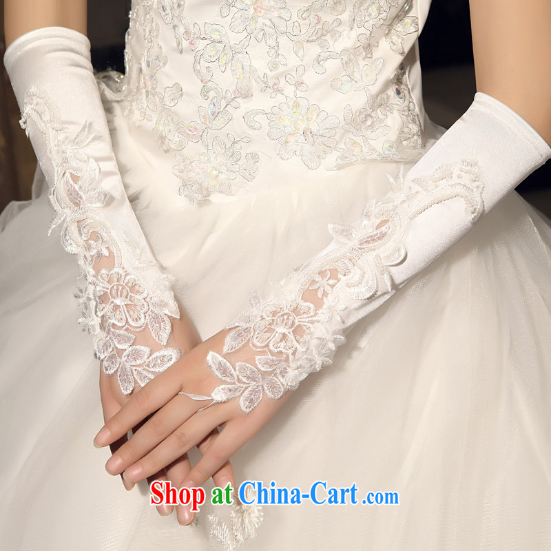 Mrs Alexa Lam go scot bridal gloves Korean wedding dresses accessories exposed to staple embroidered gloves Pearl White 03,333