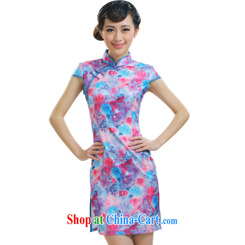 Slim li know dresses 2015 new Chinese female fashion improved daily floral cheongsam dress QR 009 purple XL