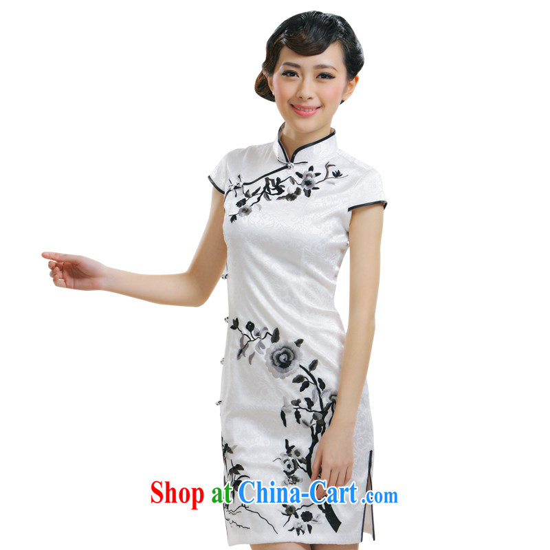 Slim li know 2015 spring and summer new cheongsam stylish improved embroidery flowers cheongsam white embroidered cheongsam dress QR 010 - 823 white XL