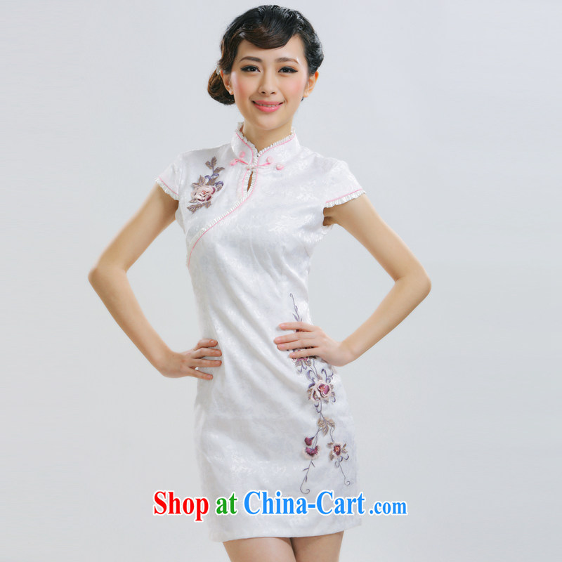 Slim li know 2015 spring and summer new winding up of Jacob the retro short cheongsam Gangnam embroidery China wind dress QR 019 white XL