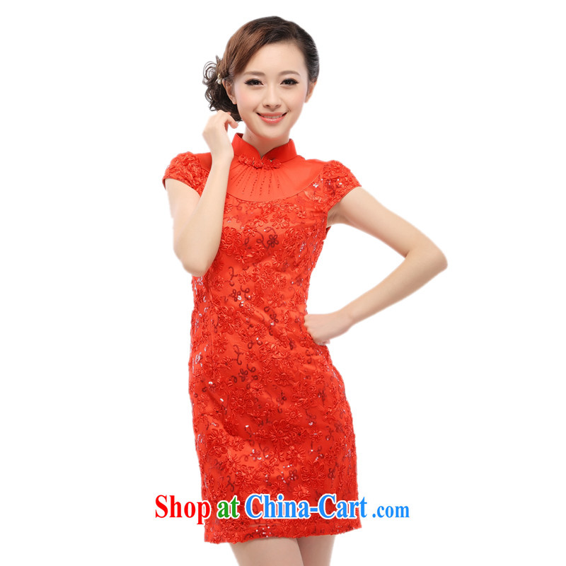 Slim li know daily retro dresses skirts improved stylish bridal wedding bridesmaid dress 2015 new lace QW 001 - 1 red XL