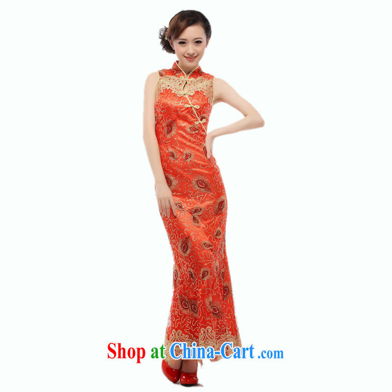 Slim li know that 2015 summer new bride wedding dress long crowsfoot service slim Li know cheongsam dress bows dress QT 20 red XL