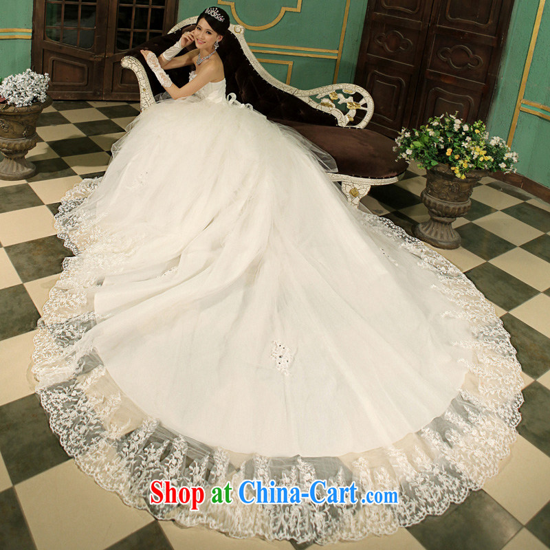 Mrs Alexa Lam go scot marriages wedding dresses 2013 the latest Korean wiped chest Deluxe drill long-tail wedding flowers tied with embroidered white 14,881 white L