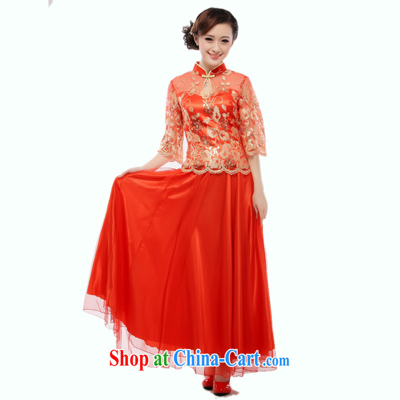 Slim li know 2014 new marriages red bows dress cheongsam dress stylish improved QB 8007 / (12 - 31) red XL