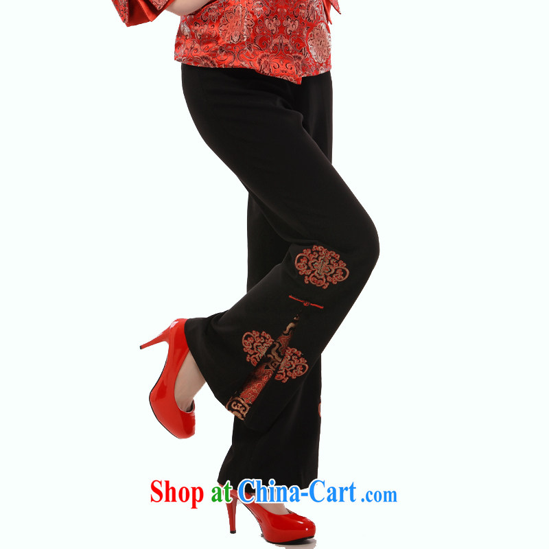 Slim li know 2015 spring new Ms. replace older dress auspicious lanterns embroidery micro-la Salle trousers XL tablets a snap lanterns pants black XL