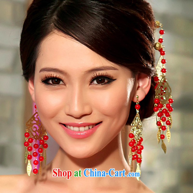 Mrs Alexa Lam unpunished bridal headdress the most Ornate Kanzashi earrings wedding supplies classical cheongsam decorated classic hair accessories earrings Kit Red Gold 02,912