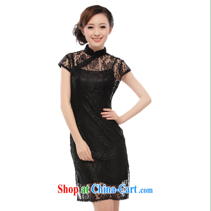 black lace dress straps skirt 2015 new sexy slim li know QT 10 black XXL