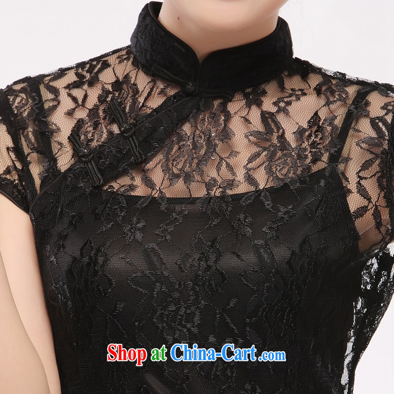 black lace dress straps skirt 2015 new sexy slim li know QT 10 black XXL, slim Li (Q . LIZHI), shopping on the Internet