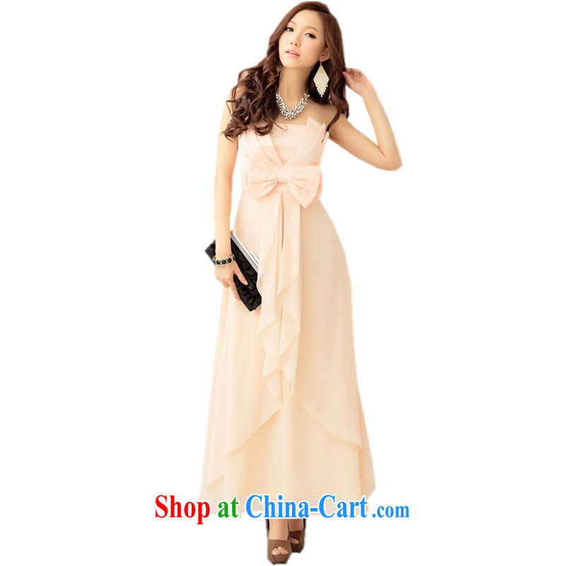 The Parting long Bow Tie bare chest dress 2015 Korean version of the new women banquet toast moderator small dress dresses 4442 orange pink XL