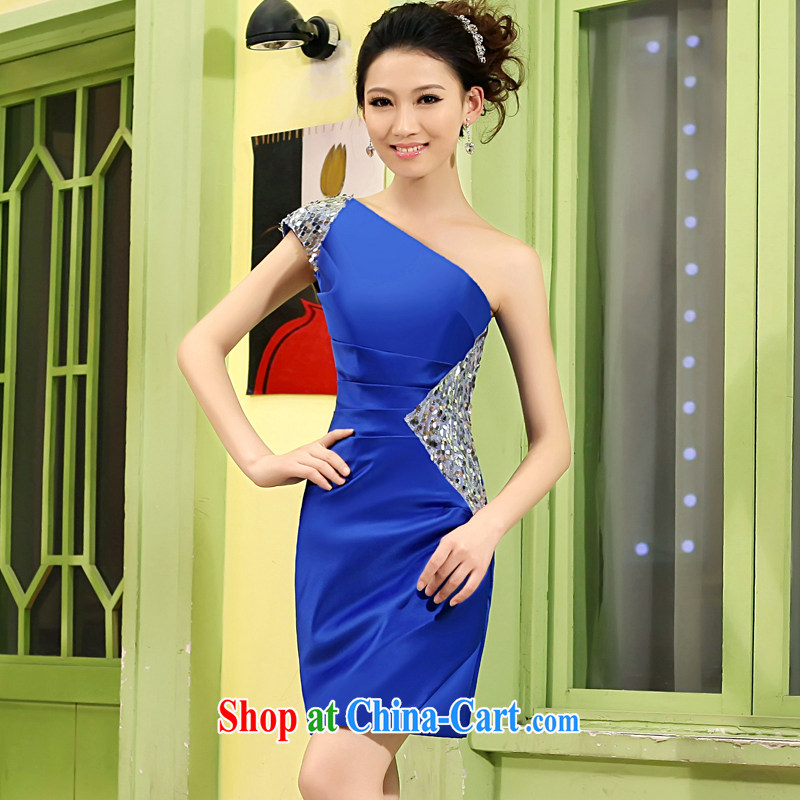 Mrs Alexa Lam growl 2013 new small dress short, Korean edition shoulder Evening Dress bridal toast serving red royal blue uniforms 13,961 royal blue XS