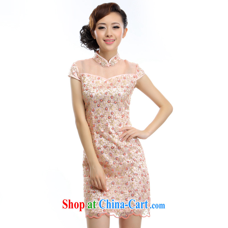 Slim li know 2015 spring and summer new improved stylish bows Service Bridal wedding dresses short dresses A - 894 pink S