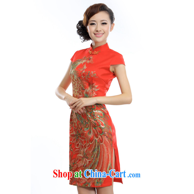 Slim li know 2015 spring and summer new improved modern Chinese style wedding dresses rich auspicious Phoenix dress A - 845# red XXL