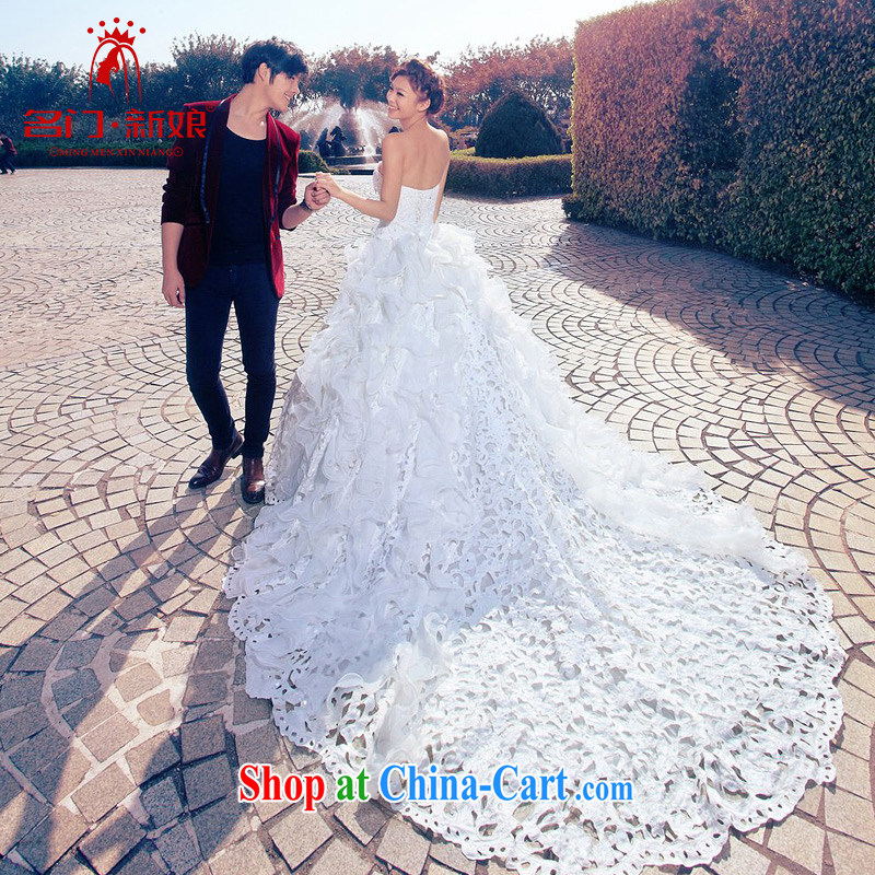 The bride's wedding dresses exquisite beaded Deluxe Big-tail wedding sweet Princess wedding A L 986