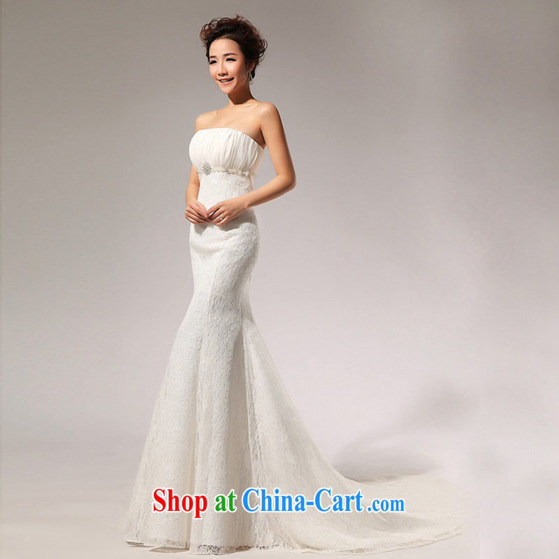 Moon 珪 guijin 2014 new Princess wedding dresses three-dimensional lace Korean crowsfoot tail tied behind with wedding a 7m White L code from Suzhou shipping